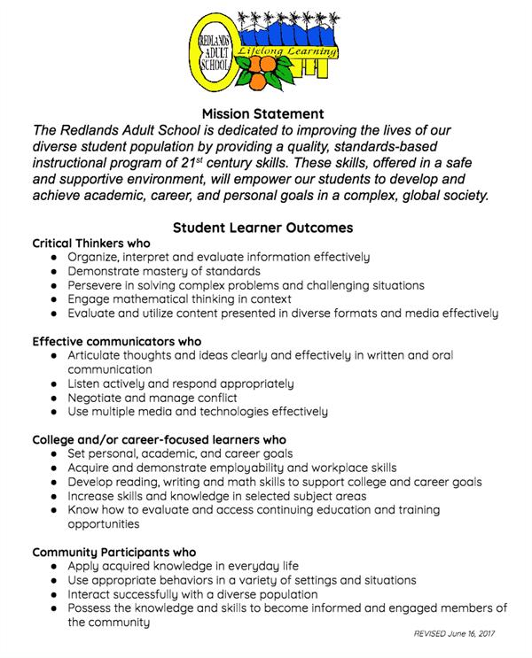 Redlands Adult School / Homepage