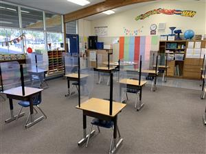sample classroom desks with plexiglass