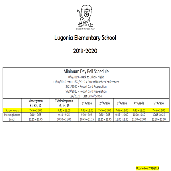 Lugonia Minimum Day Bell Schedule