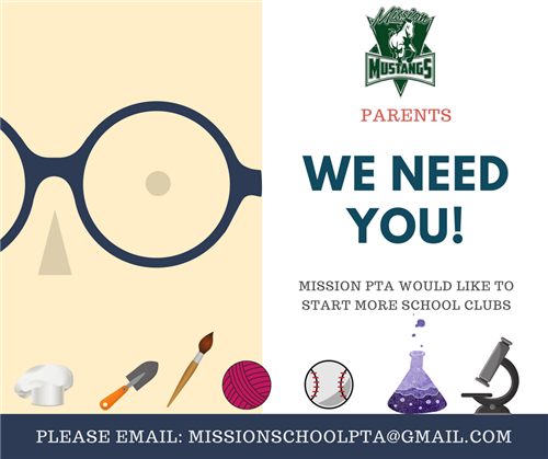 plain page with pair of eyeglasses requesting parents to help start clubs on campus