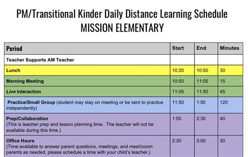 PM TK Distance Learning Schedule