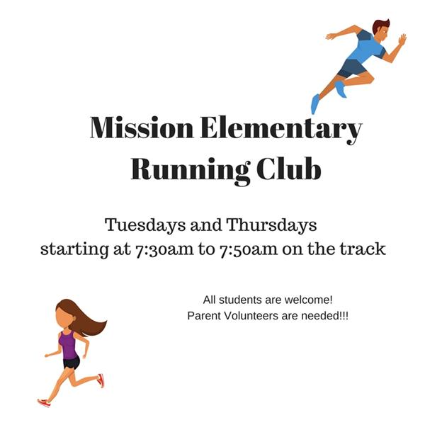 white background with male and female cartoonish runners with black lettering stating running club