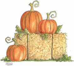 hay bale with pumpkins clip art