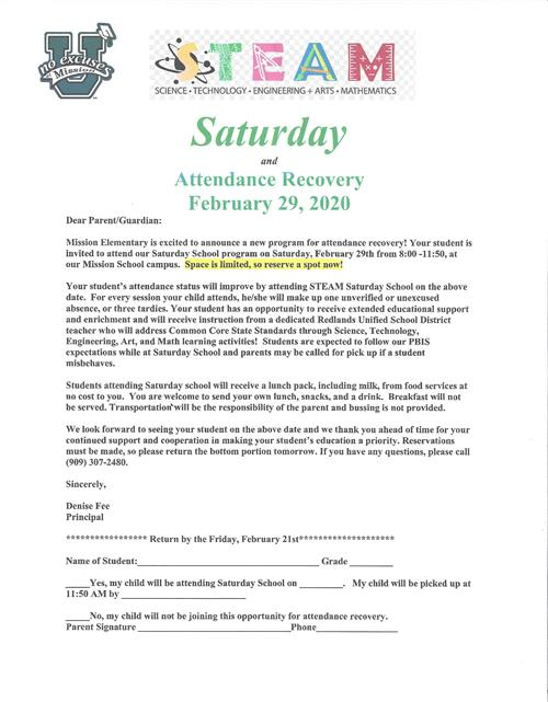 Mission - STEAM Saturday - Attendance Recovery 2/29/20