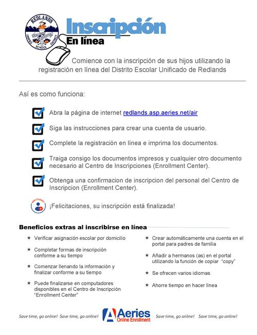 Aeries Online Registration Spanish