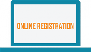 computer screen with text: Online Registration