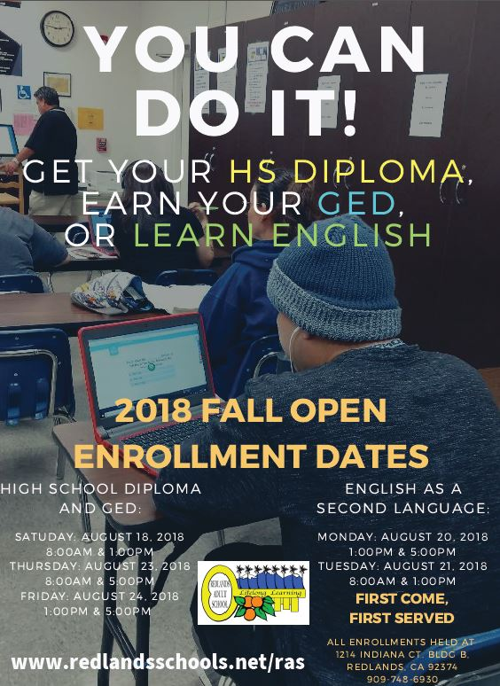 Redlands Adult School FALL 2018 Enrollment