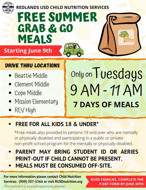 Summer Grab and Go Meal Schedule