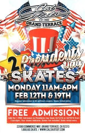 Presidents Day Skate Flyer