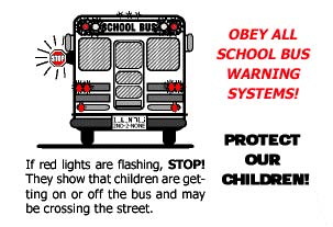 School Bus Warning Systems, Flashing Lights, Stop Sign